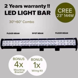 23INCH 144W CREE LED LIGHT BAR SPOT FLOOD LIGHT 4X4 OFFROAD WORK