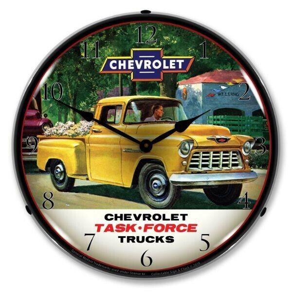 NEW 1955 CHEVROLET TRUCK BACKLIT LIGHTED RETRO CLOCK FREE SHIPPING /& HANDLING