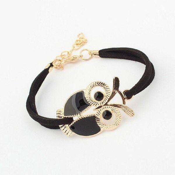 Vintage Faux Suede Enamel Owl Charm Bracelet
