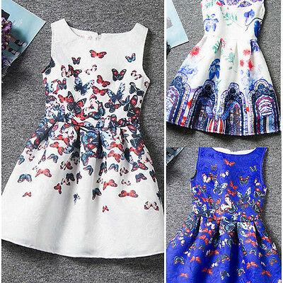 Summer Dress Sleeveless Printed Princess Grils Dress Teenagers Kids Cute - Grils Clothing
