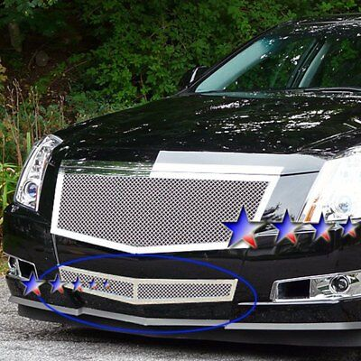 For Cadillac CTS 08-13 APG 1-Pc Chrome Polished 1.8mm Wire Mesh Bumper Grille