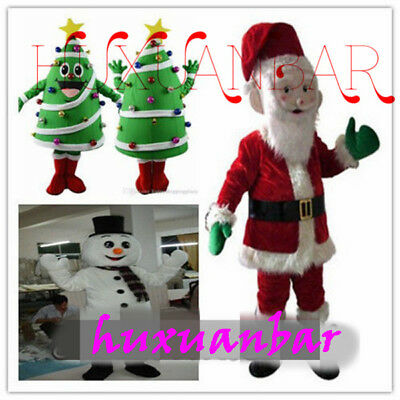 Xmas Christmas Tree Santa Snowman Mascot Costumes Fancy Dress Party Adult (Party Tree Costumes)