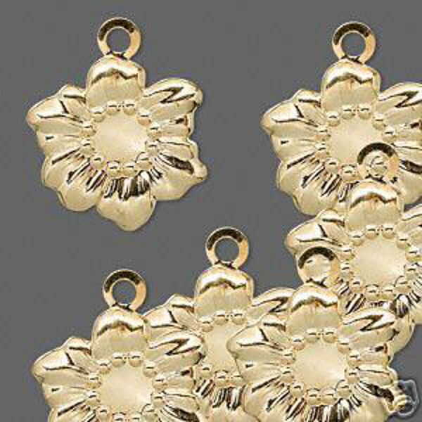 Sunflower Charm Gold Flower Jewelry Scrapbook Lot of 10