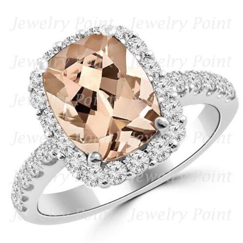 Cushion-cut Peach Pink Morganite & Diamond Halo Engagement Ring 14k White Gold