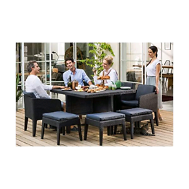 Plastic rattan garden furniture table and chairs