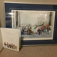 Zimmerman signed Snow Day book and framed hockey print