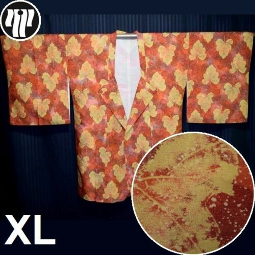 "Vintage Kimono Japanique Jacket Modified Michiyuki XL Free Size ""Falling Leaves"""
