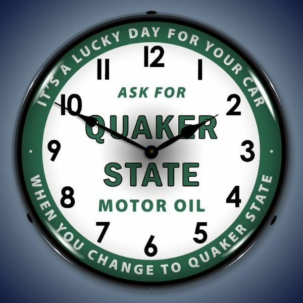 "New ""Ask For Quaker State Motor Oil""  LED LIGHT UP advertising clock USA Made"