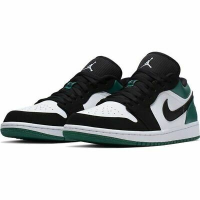 Nike Air Jordan Retro 1 Low Mystic Green White Black Men's 553558-113 Sz 7.5-13