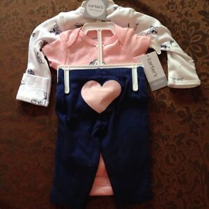 Brand  New! Carters 3 Piece Outfit & Swaddle Blankets Peterborough Peterborough Area image 2
