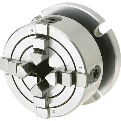 Shop Fox D3754 2-34 Inch 4 Jaw Lathe Chuck With Screw On Pedestal Back Plate