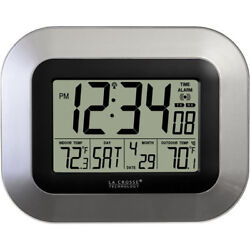 LA CROSSE WS-8115U-S Atomic Digital Wall Clock with Indoor/Outdoor Temperature