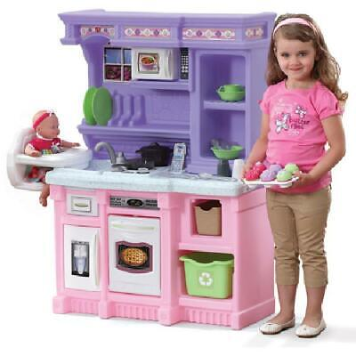Kitchen Playset For Girls Pretend Play Refrigerator Toy Cooking 30 Accessory Set