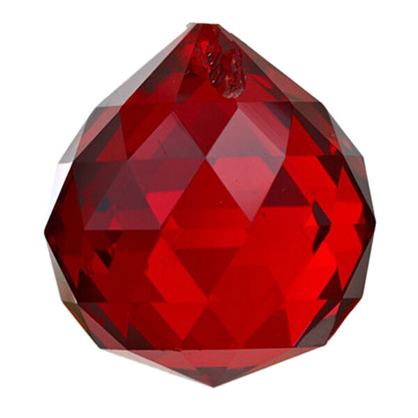 Red Rainbow Suncatcher Hanging Crystal Ball Prism Feng Shui Drop Pendant 30mm HY