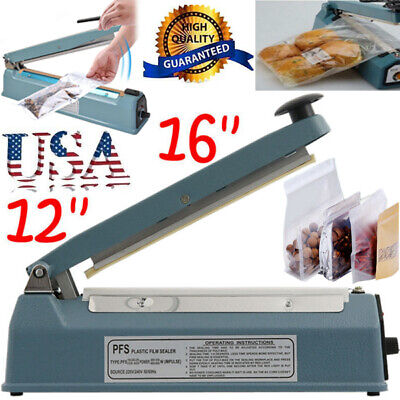 12 16 Hand Impulse Heat Sealing Machine Poly Element Plastic Closer Bag Sealer