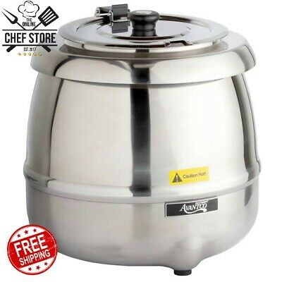 11 Qt Round Stainless Steel Silver Countertop Electric Soup Kettle Warmer 120v