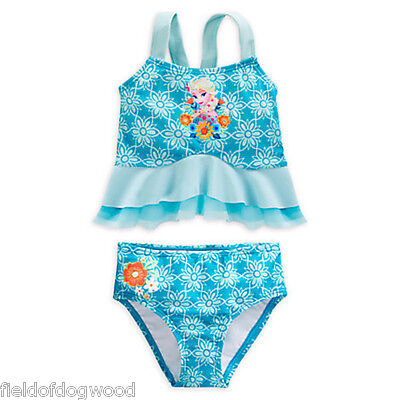 Nwt Disney Store Frozen Elsa Deluxe Ruffled Swimsuit Tankini 4 5 6 7 8 9 1 0