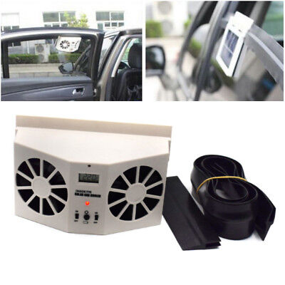 Solar Powered Car Front Window Air Vent Cooler Dual Fan Radiator Cooling Kits ()
