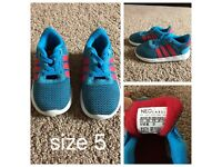 Adidas blue trainers size 5