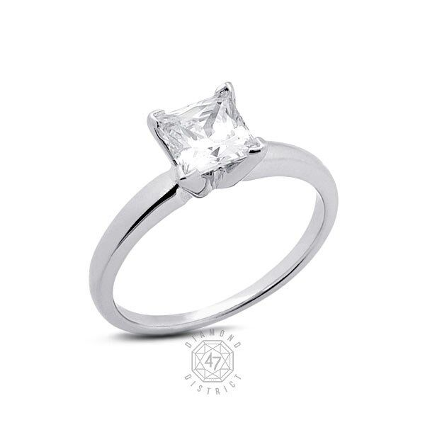 2.07ct. G-si3 Ex Cut Princess Agi Certified Diamond 18k Gold Classic Ring 5.96gm