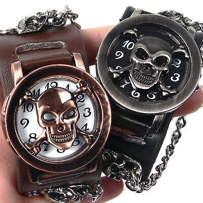 Damen / Herren Armbanduhr Breit Armband Punk Gothic Nieten Totenkopf Quar best