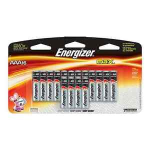 AAA Energizer Max Batteries - Package of 16 Pieces - New Stock