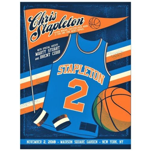 🔥 CHRIS STAPLETON MSG NEW YORK NY NOV 2018 Limited Edition poster print knicks