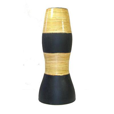 Black Ceramic Vase - Tall Ceramic Black Vase with Bamboo Accents 15.5