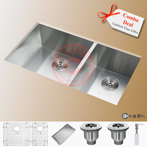 "32"" Under Mount Kitchen Double Sink 60/40 Split Combo Deal"