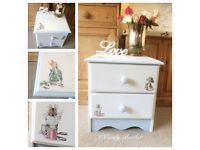 Solid pine Peter Rabbit bedside drawers