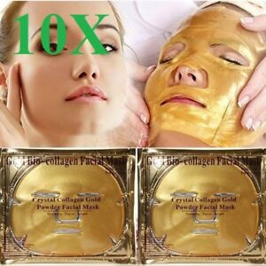 10 PCS Gold Premium Collagen Crystal Anti-Ageing Deep Moisture Facial Face Mask
