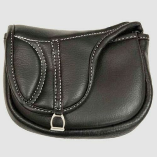 Small Treat Bag English Saddle Shaped Pouch with Belt Loop Mini Stirrup Iron