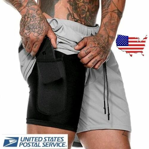 Mens 2 In 1 Training Athletic Shorts With Secure Phone Pocket
