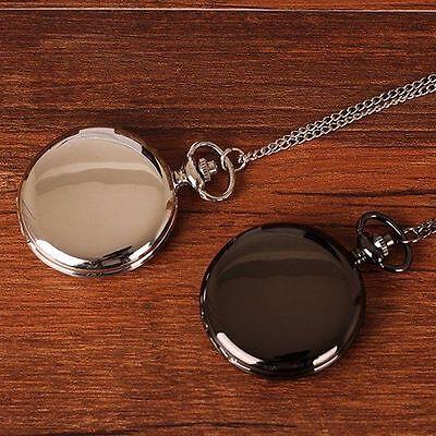 ANTIQUE Black/Silver Smooth Quartz Pocket Watch Necklace Pendant Women Men -