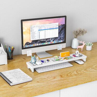 Wood Desk Organizer Rack Shelf Pen Holder Storage Tray Desktop Office White