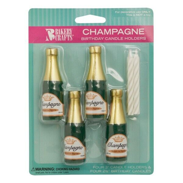CHAMPAGNE BOTTLE Cake Candle Holder Set Birthday Party Supply Decor Cake Toppers