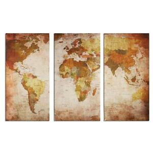 Retro World Map Canvas Print