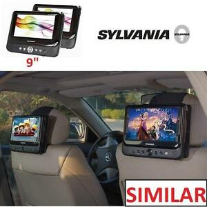 "NEW SYLVANIA DUAL SCREEN DVD PLAYER - 107201626 - PORTABLE 9"" DUAL SCREENS - INCLUDES CARRYING BAG  MOUNTING STRAPS"