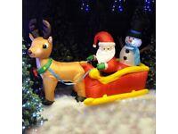 Inflatable Reindeer with Sleigh, Santa & Snowman NEW