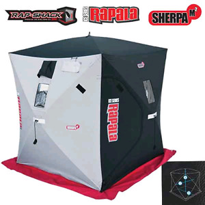 Rapala ice fishing shelter and auger