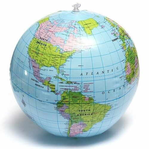 38cm Inflatable World Globe Earth Map Teaching Geography Beach Ball Map For Z5B0