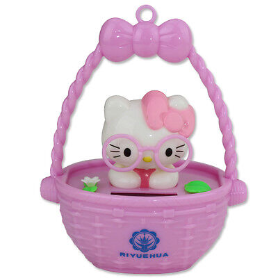 Cute Hello Kitty Wearing Pink Glasses in Pink Bascket Solar Toy Home Decor Gift ()