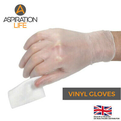 100 Clear Vinyl Examination Gloves - NHS Specification - Boxed - UK Stock