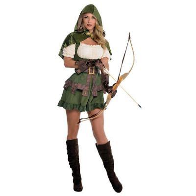 Medieval Female Archer Costume (Ladies Medieval Elf Elven Archer Robin Hood Maid Marion Fancy Dress)