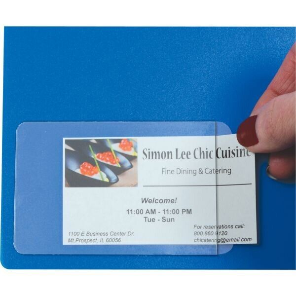 """140-Pack Self-Adhesive Business Card  Pockets Clear - 3 1/2 """" X 2""""  0.15mm Thick"""