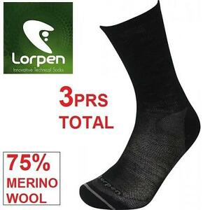 3PR NEW LORPEN SOCKS ADULT SMALL SMALL - T2 MERINO LINER SOCK - 75% MERINO WOOL 99556521