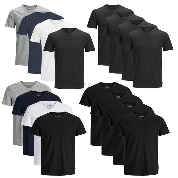 JACK & JONES T-Shirt Herren 4er Pack Basic O-Neck V-Neck Shirt S M L XL XXL