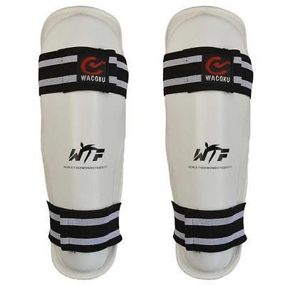 WACOKU Schienbeinschutz, weiss, mit WTF Zulassung. Gr. XS-XL. Taekwondo, Karate