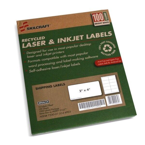 Skilcraft NSN5144904 Permanent Laser Address Labels,1 in. x