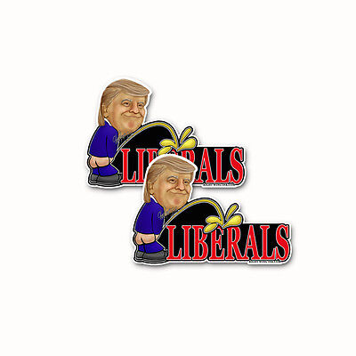Trump Peeing On Liberals Bumper Sticker  Decal anti Feminest  News Media 2pack